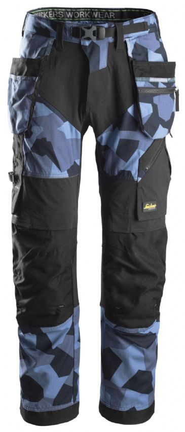 Snickers FlexiWork 6902 Work Trousers with Holster Pockets (Navy Camo/Black)